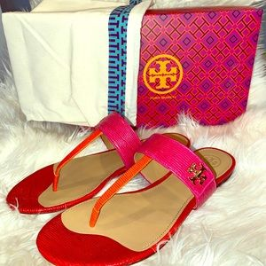 NWT Authentic TORY BURCH Kira Leather Thong Sandal